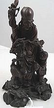 Chinese rosewood carving Shou Lao 18cms Ht