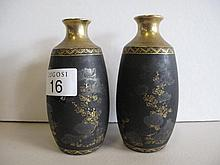 Pair Satsuma black gilt vases marks to base