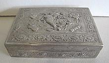 Antique Chinese silver metal box with dog of Fo