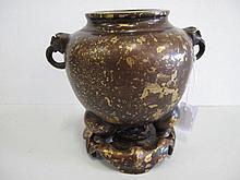 Chinese gold splashed bronze censer on stand