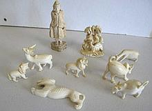 Various small antique ivory carvings including
