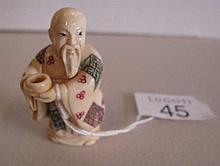Mammoth Ivory Buddha holding cup 5cm