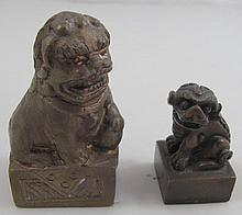 Two Chinese bronze dog of Fo seals 4cms & 6cms