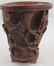 Chinese fine boxwood libation cup 7cms Ht pierced