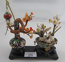 Vintage Chinese cloisonne agate miniature vases