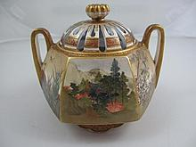 Meiji Satsuma lidded censer with reticulated lid