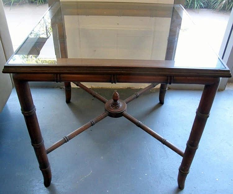 Pair quality glass and faux bamboo timber tables measure 61cms x 61cms x 60
