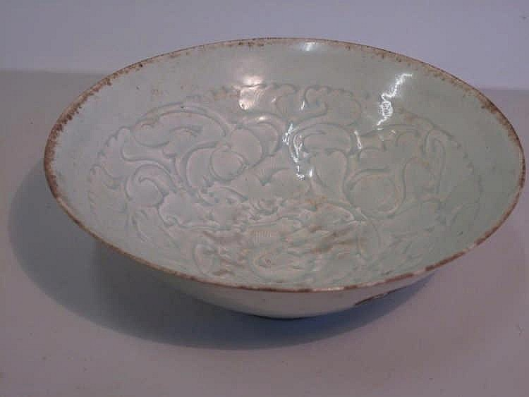 Chinese Song dynasty Qingbai porcelain bowl 20cms Old BADA gold sticker to