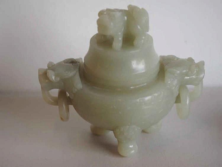 Fine 18/19thC Chinese carved celadon Jade censer carved to body with taotie