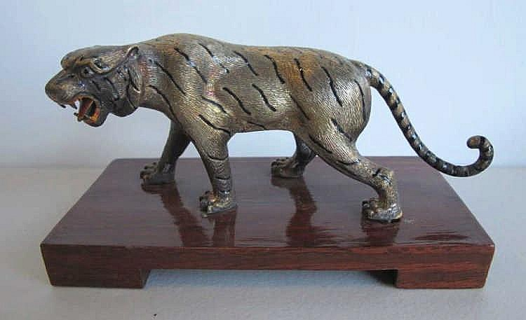 Chinese silver enamel tiger figure on stand stamped 900 measures 9cms Ht