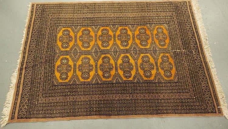 Vintage Pakistani floor rug measures 1.90m x 1.23m with panel of twelve gul