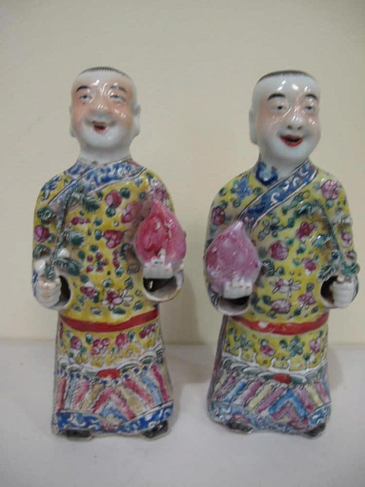 Pair 19thC Chinese figures 'The brothers He-He' well painted in coloured en