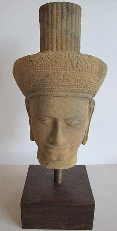 Carved Cambodian stone head on stand 35cms Ht