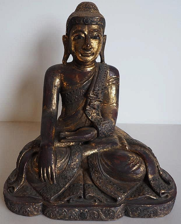 Thai gilded wooden seated Buddha 46cms Ht