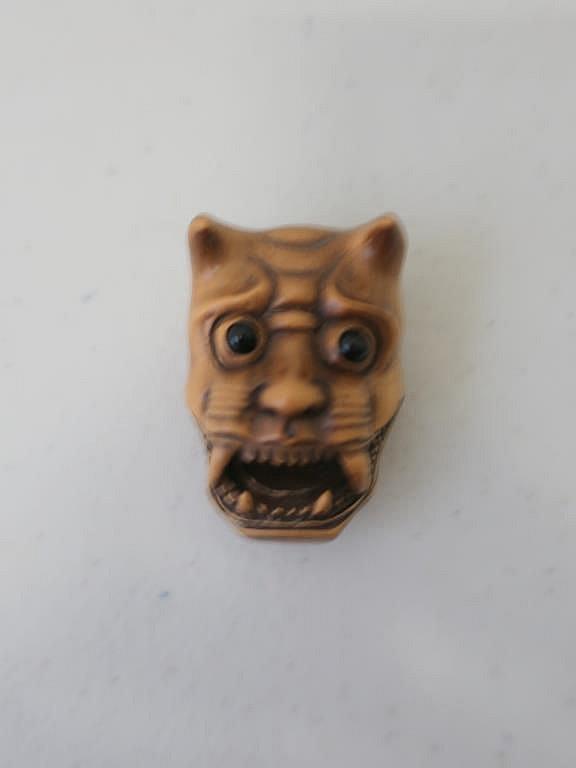 Japanese carved signed boxwood netsuke Oni