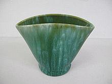 John Campbell oval green pottery vase measures 13cms Ht
