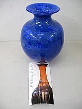 Studio ceramic blue crystalline glaze vase measure 26cms Ht