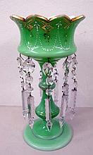 19th century gilded green crystal lustre measures 33cms Ht