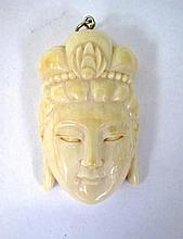 Antique carved ivory Guan Yin pendant on suspension loop 5cms 25.67grams