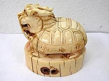 Qing dynasty Chinese carved ivory table seal in the form of a dragon turtle