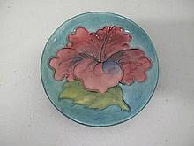 Moorcroft Hibiscus pin dish 11.5cms original paper label to base