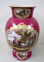 Large German gilded puce porcelain vase finely painted with scenes of peopl