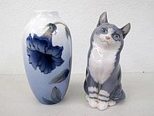 Royal Copenhagen porcelain figure of a cat measures 13.5cms with Copenhagen