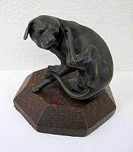 Antique Austrian bronze of a seated dog measures 6cms
