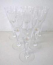 Six Dartington crystal wine glasses with teardrop inclusions measure 22cms
