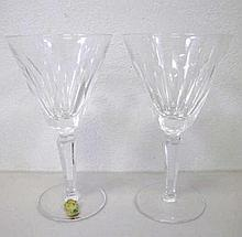 Pair Waterford crystal wine glasses 18cms