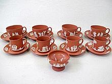 Wedgwood terracotta jasperware tea set with coffee cups and saucers sugar b