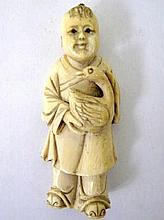 18th/19thC Chinese carved ivory figure of a young boy holding a duck with i