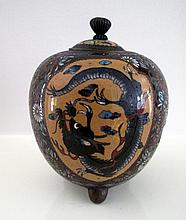 Meiji cloisonne lidded censer measures 10cms ht