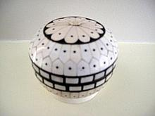 Antique Indian ivory round covered box 8cms Dia