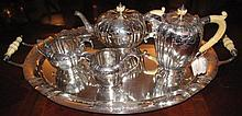 Superb Antique sterling silver & ivory tea service