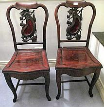 Fine pair Chinese Qing dynasty rosewood chairs wih