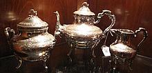 19thC Art Nouveau Viennese sterling silver teaset