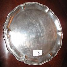 Sterling silver tray  25cms Dia weighs 416gms