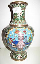 Antique Chinese cloisonne vase with precious