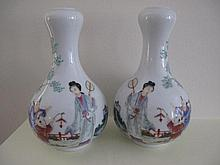 Pair Chinese Republic enamel vases symetrically