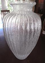 Large Italian art glass ribbed vase 52cms Ht