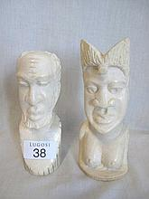 Chanian pair of ivory carving of a bearded man and