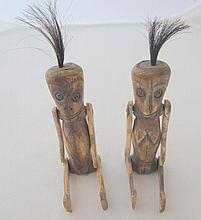 Two 19thC carved tribal monkey figures articulated