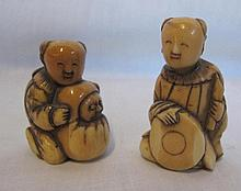 Pair of carved Okimono couple Japanese