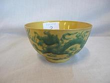 Antique Chinese Imperial yellow dragon bowl