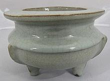 Chinese celadon glaze porcelain tripod bowl with