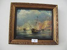 European School Marine oil on board gilt frame