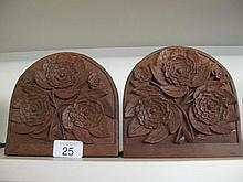 Pair Kashmiri floral carved wood bookends 15x15cms