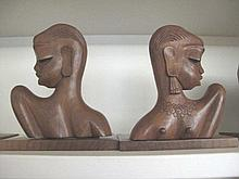Pair carved wood bookends with African female face