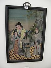 Chinese reverse painting on glass three ladies